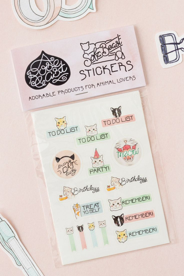 These cat-themed vinyl stickers are perfect for all you crazy cat ladies out there. Use them for the to-do lists in your planner or journal, or to decorate notebooks and accessories | crazy cat lady | cat lover gift | Etsy | Cat stationery | Bullet Journal
