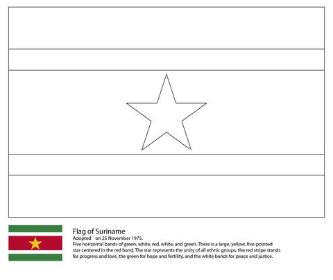 Suriname Flag Coloring Page