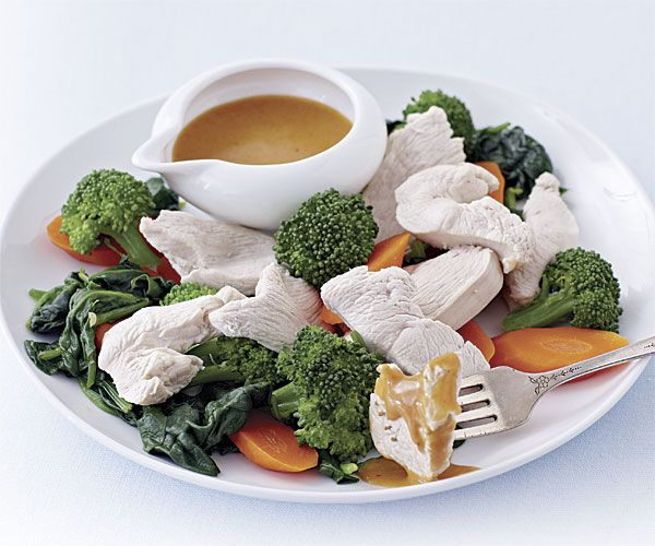 Poached Chicken and Vegetables with Thai Peanut Sauce | Recipe