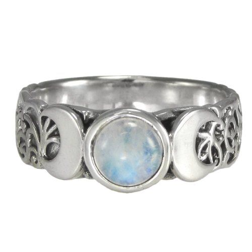 Amazon.com: Triple Crescent Moon Goddess Rainbow Moonstone Ring Sterling Silver Wicca Pagan Jewelry (sz 4-15): Jewelry