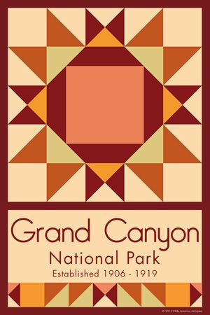 Grand Canyon National Park Quilt Block designed by Susan Davis. Susan is the owner of Olde America Antiques and American Quilt Blocks She has created unique quilt block designs to celebrate the National Park Service Centennial in 2016. These are the first quilt blocks designed specifically for America's national parks and are new to the quilting hobby.
