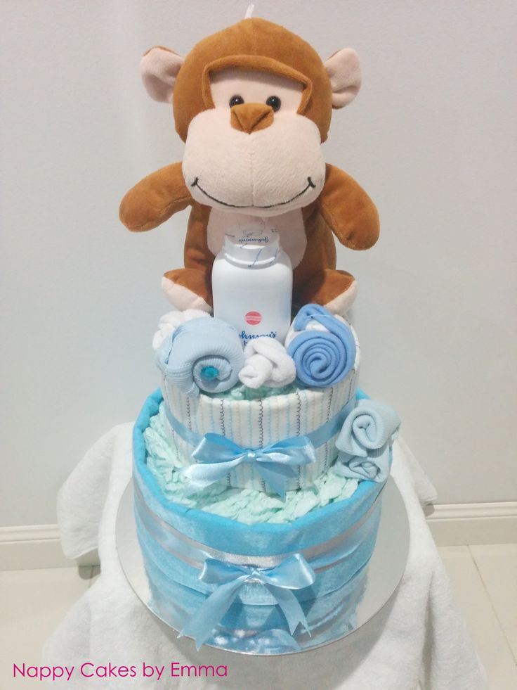 Baby Boy Monkey Nappy Cake #babygifts #newbornsgifts #nappycake
