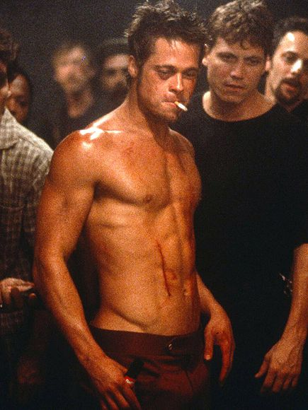 Hello, Abs: The Top 15 Sexiest Shirtless Scenes in Film History | BRAD PITT, FIGHT CLUB | The years since Fight Club have only been good to Pitt, but there's still no denying that this shirtless moment was probably his peak sexiness.