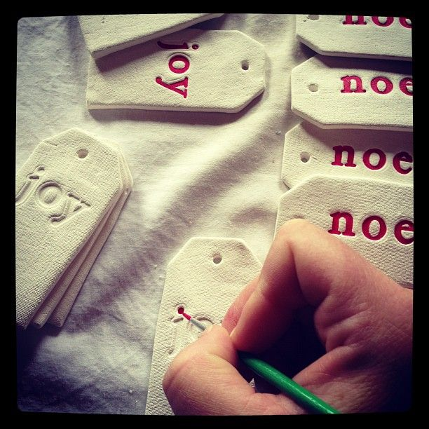 Adding some colour to Christmas tags #marleyandlockyer #ceramics #clay #christmas