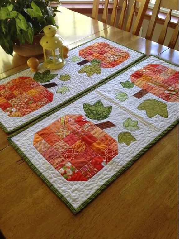 Free Quilt Pattern: Scrappy Pumpkin Table Runner