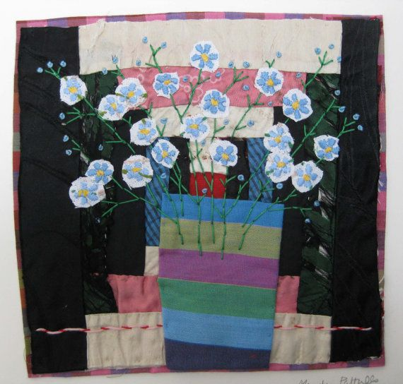Hand Appliqued and Embroidered Textile Collage
