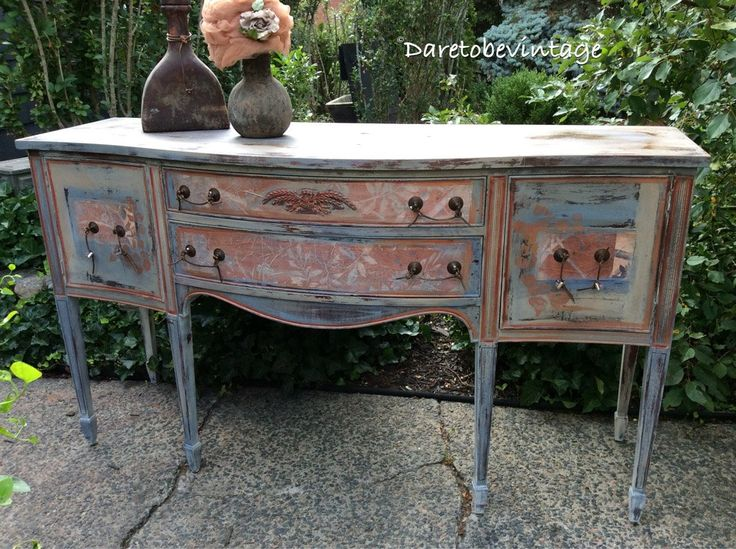 Vintage Painted Buffet - Painted Buffet In Terra Cotta and Blues - Annie Sloan…