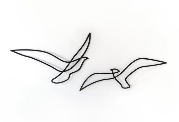 Set Of 2 Abstract Birds Metal Home Decor Minimalist Wall Etsy One Line Tattoo Line Art Tattoos Minimalist Wall Art