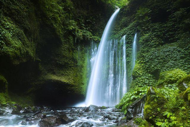 Waterfall in Lombok (Tiu Kelep Waterfall in Rinjani National Park, Lombok Island, Indonesia).