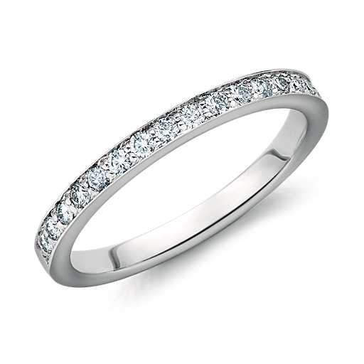 Cathedral Pavé Diamond Ring in 14k White Gold (1/5 ct. tw.) Delicate and elegant, this diamond ring features a near half-circle of eighteen pavé-set round diamonds in an 14k white gold band. Approximately 1/5 carat total diamond weight.