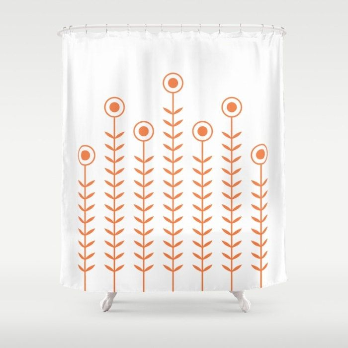 36 colours, Minimalist Flowers Shower Curtain, Scandinavian style, Celosia Orange geometric shower curtains, flower pattern bathroom decor by ThingsThatSing on Etsy