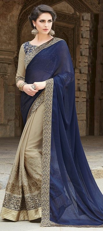 709505 Beige and Brown, Blue color family Embroidered Sarees, Party Wear Sarees in Faux Chiffon fabric with Lace, Machine Embroidery, Stone work with matching unstitched blouse.