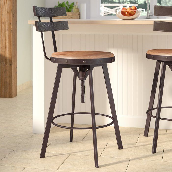 Sylvania Swivel Adjustable Height Bar Stool Farmhouse Bar Stools Swivel Bar Stools Bar Stools