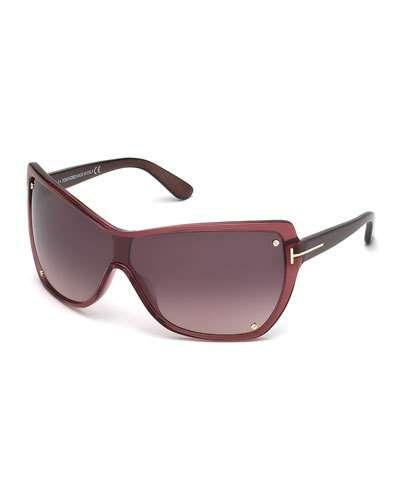 D12K2 TOM FORD Katerina Oversized Plastic Shield Sunglasses, Bordeaux