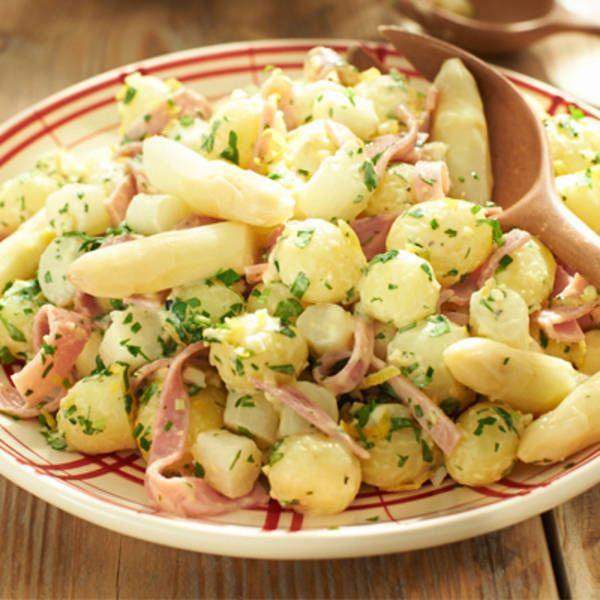 Aardappelsalade met asperges en ham. Bijgerecht, 6 personen