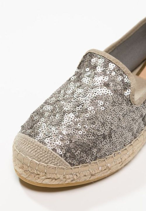 Silver-sequined Espadrille Flats