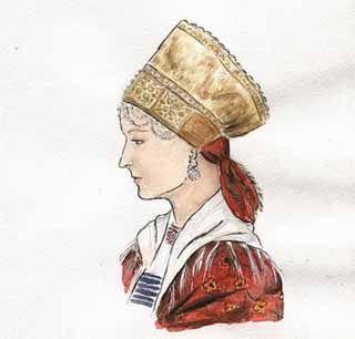 """Не менее старинным представляется и головной убор- девичья повязка. Повязка представляла собой широкую полосу, верхняя часть которой обшита мишурным галуном, а нижняя часть по центру сделана из фольги и оформлена в виде 5 """"окошек"""" с одинаковым рисунком, вышитыми бисером, бусом, жемчугом, перламутровыми плашками. На лоб спускается бисерная или жемчужная поднизь в виде фестонов. Сзади повязка завязывается на широкие ленты из ткани и галуна"""