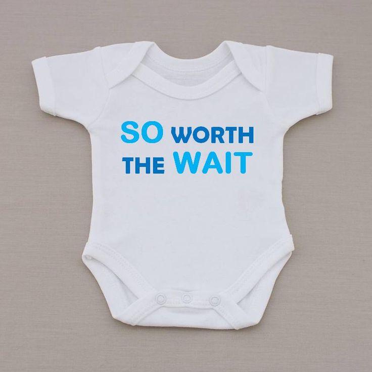 Cute Blue So Worth The Wait Baby Vest / Bodysuit