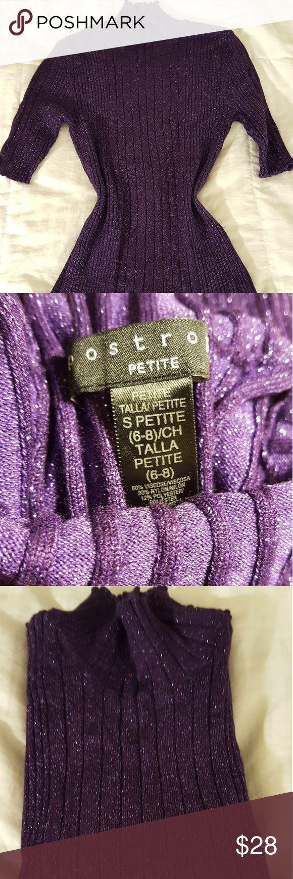 Deep purple sparkly blouse Used once at a part,very pretty color,brouse stretch. Tops Blouses