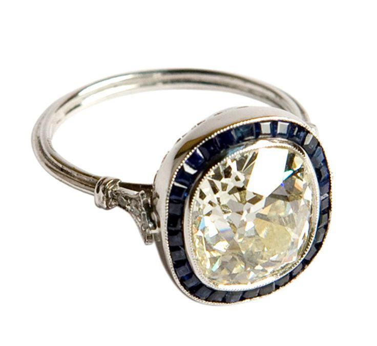 Art deco 4.20ct cushion-cut diamond ring with sapphires