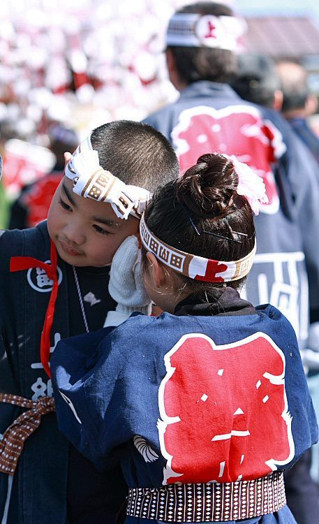 Japanese kids in Happi for Matsuri festival