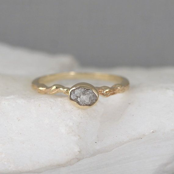 Raw Diamond Twig Engagement Ring - 14K Yellow Gold Branch Rings - Uncut Rough Diamond Rings - Tree Branch Wedding Ring - Made in Canada