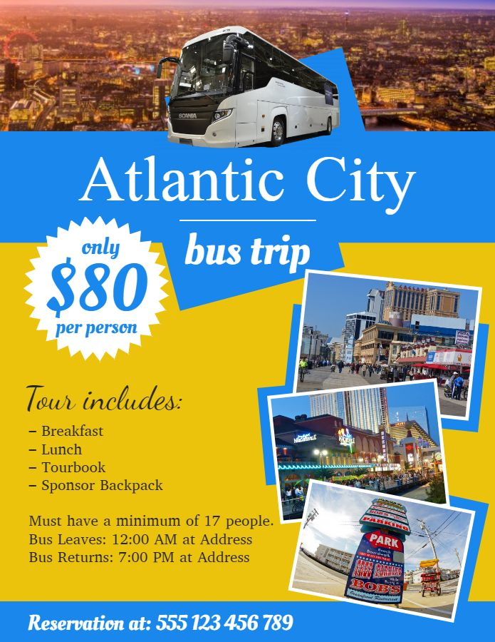 travel agent bus trip promo travel advertisement flyer template