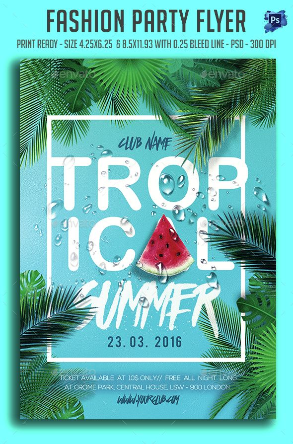 Topical Summer Party Flyer Template PSD. Download here: http://graphicriver.net/item/topical-summer-party-flyer-/15417730?ref=ksioks