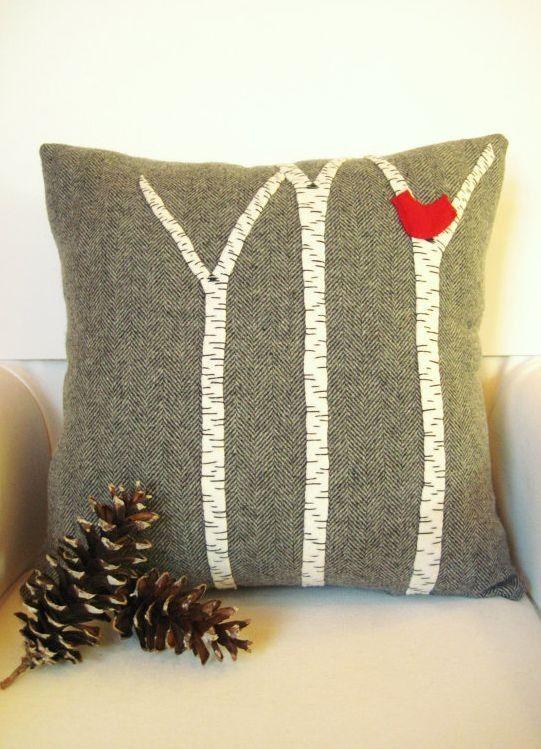 Gray Christmas pillow, White trees appliqued on pillow.