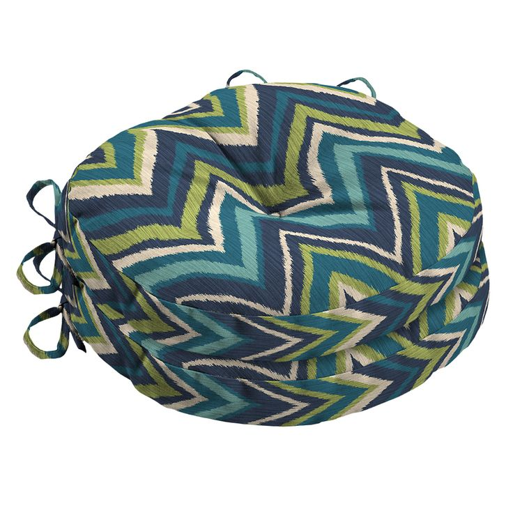 Garden Treasures Blue Flame Stitch Geometric Seat Pad For Bistro Chair