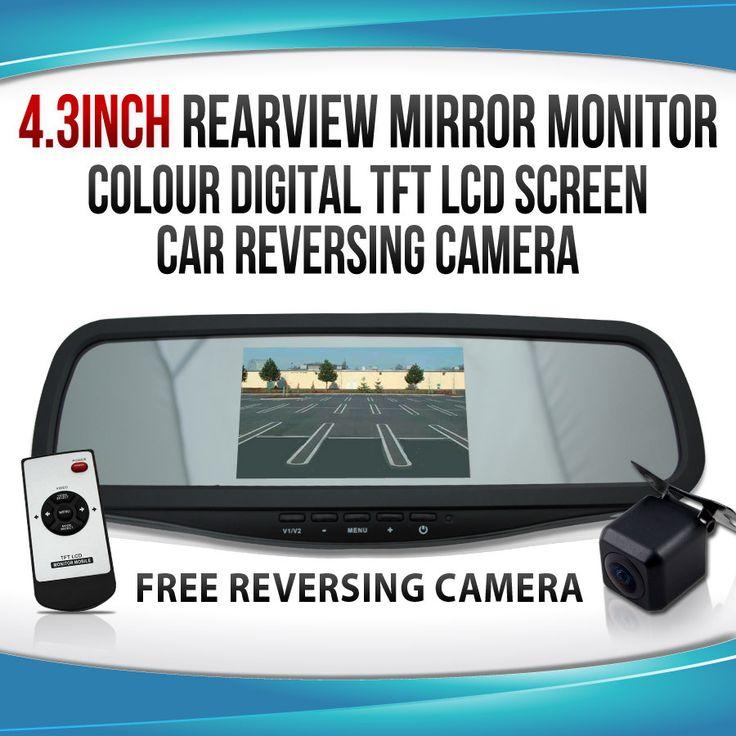 "4.3"" Colour Digital TFT LCD Screen Car Rearview Mirror Monitor Reversing Camera"