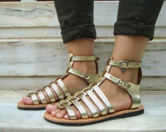 Gold Greek Sandals Gold Gladiator Shoes Greek by OhSoGreek on Etsy