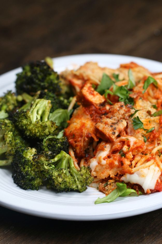 Chicken Parm Bake With Roasted Broccoli