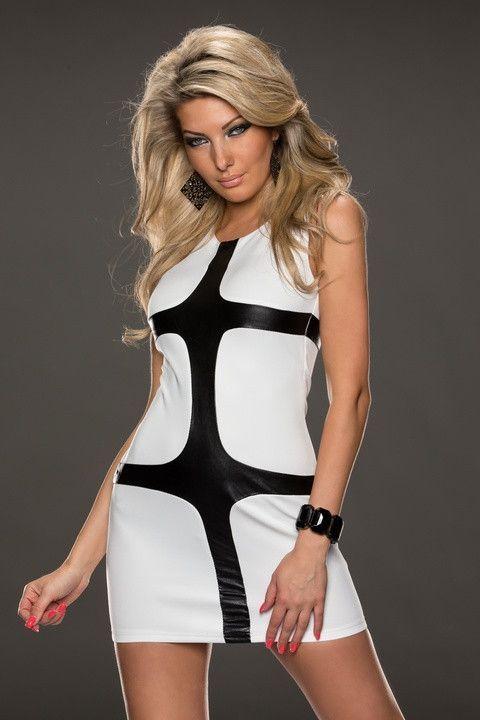 Mini Robes En Cuir Blanc Latticed Robe Moulante Pas Cher www.modebuy.com @Modebuy #Modebuy #Blanc #Blanc #me #dress