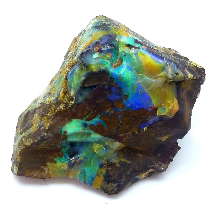 Boulder Opal from the Koroit field. Deep blue green colors like this are now viewed as black opal