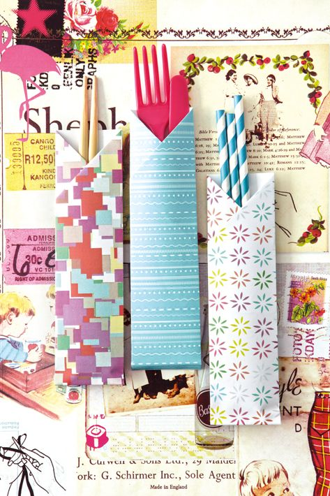 Easy origami: Chopstick or cutlery holder. Add something personal, bright and fun to the table. We love to use wrapping paper- but I guess we have a lot of that around :)