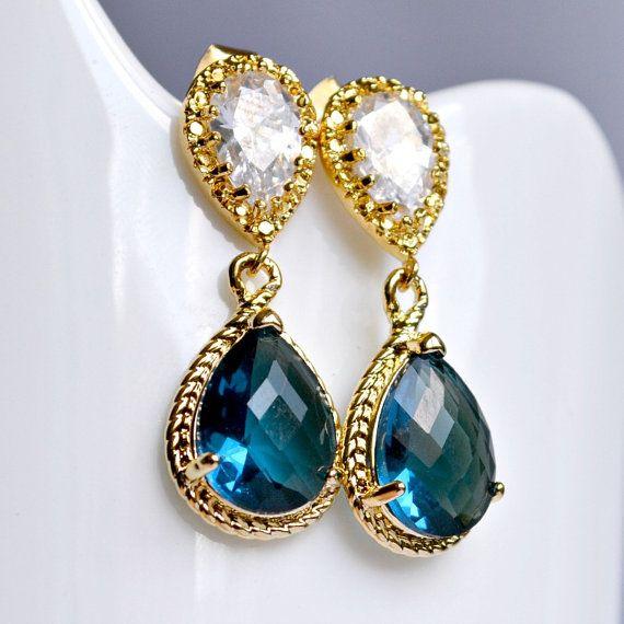 Sapphire bridal earrings bridesmaid earrings by BohemianPleasures, $29.99