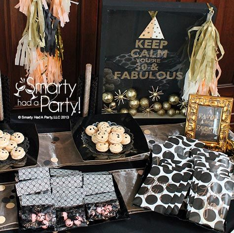 Peach Black And Gold 30th Birthday Party By