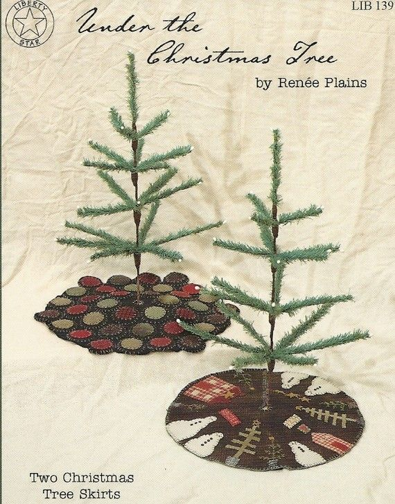 Primitive Applique Patterns Free | Primitive Folk Art Wool Applique Pattern: CHRISTMAS TREE SKIRTS