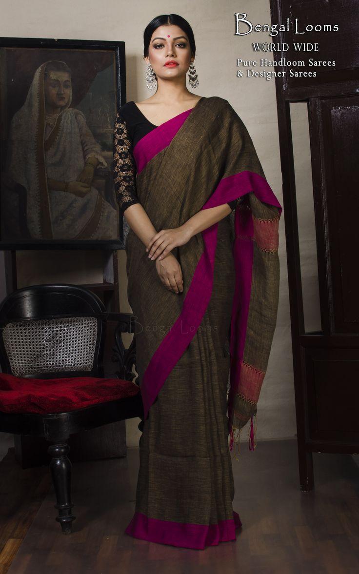 Linen Saree in Snuff and Rani
