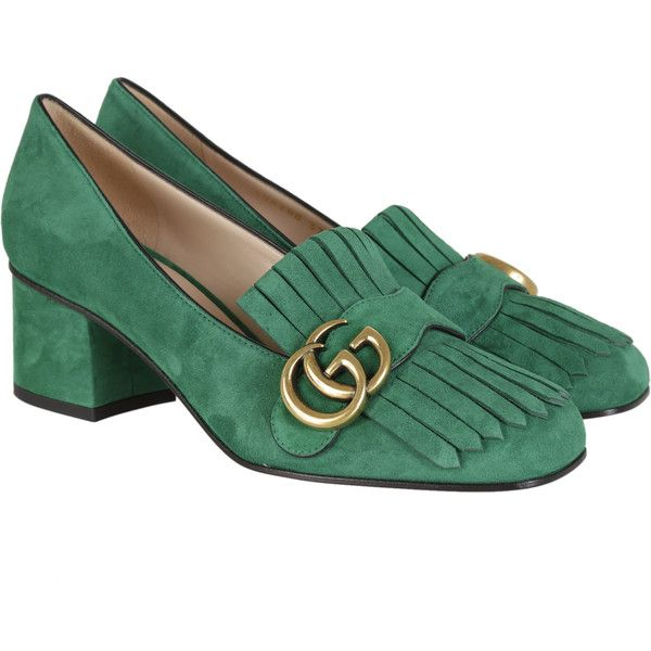 Gucci High-heeled shoes ($490) ❤ liked on Polyvore featuring shoes, pumps, green, mid heel shoes, fringe shoes, gucci footwear, gucci and gucci pumps