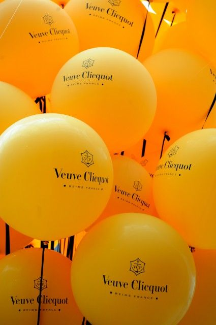 Veuve Clicquot balloons - some girls prefer tiffany blue, my preference is clicquot yellow