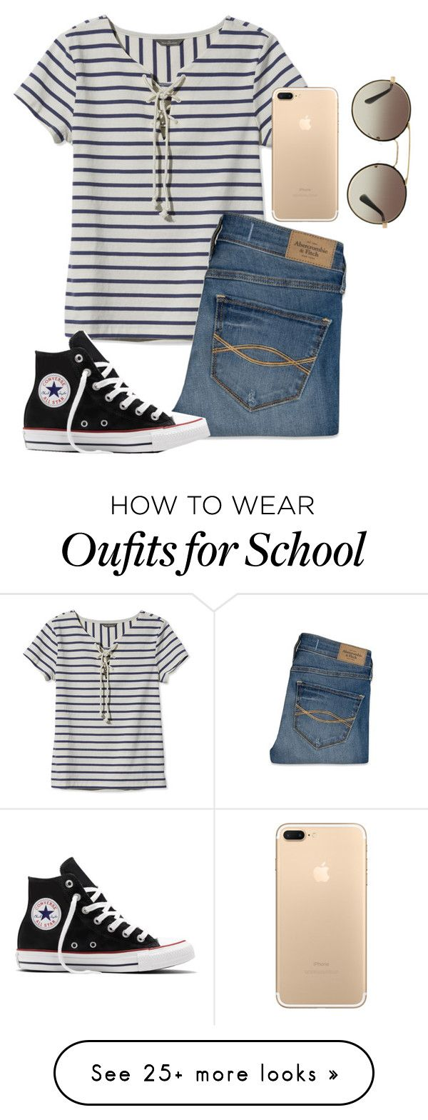 """Two more days of school 😒"" by gemini-lady on Polyvore featuring L.L.Bean, Abercrombie & Fitch, Converse and Prada"
