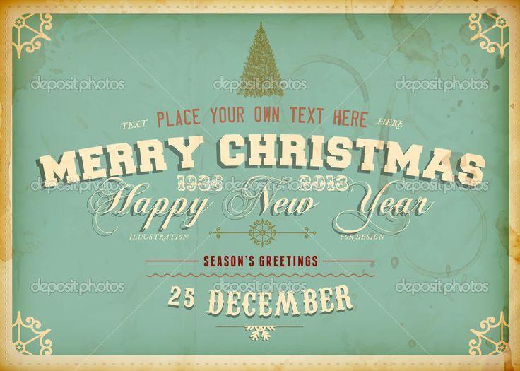 Урожай рождественская открытка с Гравировка дерева и гранж фон для Xmas приглашение дизайн — Стоковая иллюстрация #22364043