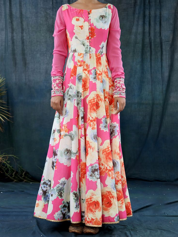 Multi Coloured Linen Anarkali With Machine Embroidery #Dupatta #ethnicstyle #style #elegant #dress #suit #indiandesigner #ethnic #accessories #partywear #celebration #festive #dress #couture #beautiful #embroidered #fashion #clothing #silk #ethnic #indiandesigner #stylist #fashionblogger #trendy #follow #stepintostyle  Shop Now: http://bit.ly/1P0lc5k