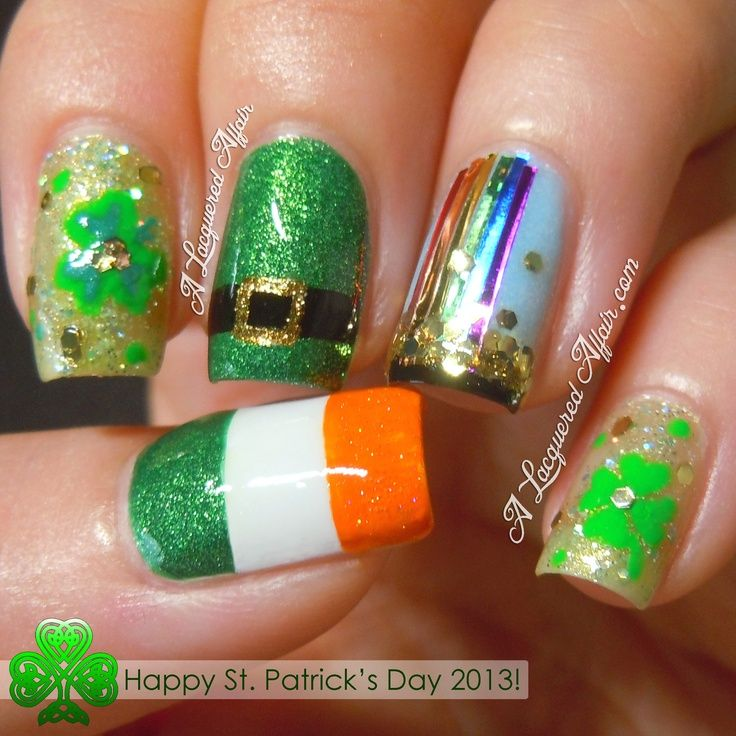 I really like the rainbow nail... A LOT!!! St. Patrick's Day Nail Art