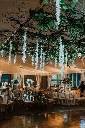 Whimsical And Romantic Wedding Reception Decor Hanging Greenery