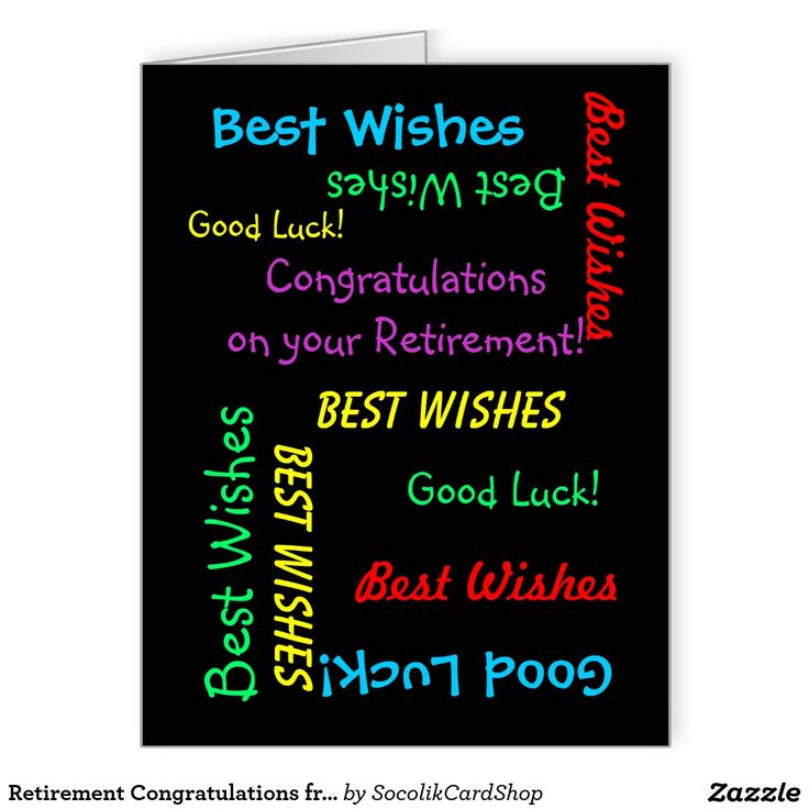 Retirement Congratulations from All of Us, Jumbo Large Greeting Card - What a wonderful, fun retirement greeting card from a group. On the cover, your text repeats in different fonts and colors on a black background. Also easy to modify inside text, if desired. Default size is Jumbo, to leave room for lots of co-workers to sign. It's easy to change to standard size, if desired. All Rights Reserved © 2014 Marcia Socolik.