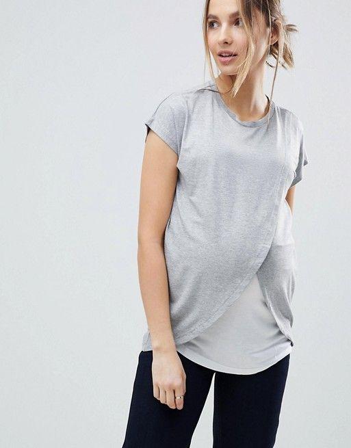 5d256c2d9fea1 Maternity Nursing T-Shirt With Wrap Overlay