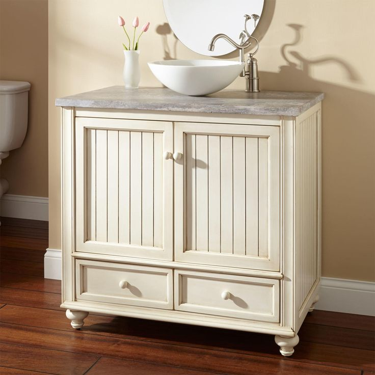 a vanity something like this with a raised vessel bowl, but not in this light color